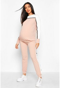 Womens Blush Maternity Colour Block Rib Lounge Set