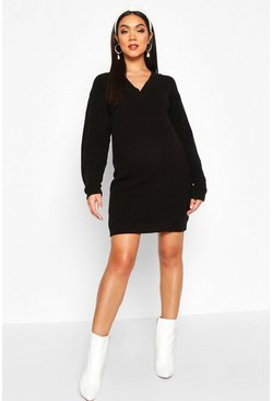 Womens Black Maternity Rib V Neck Jumper Dress