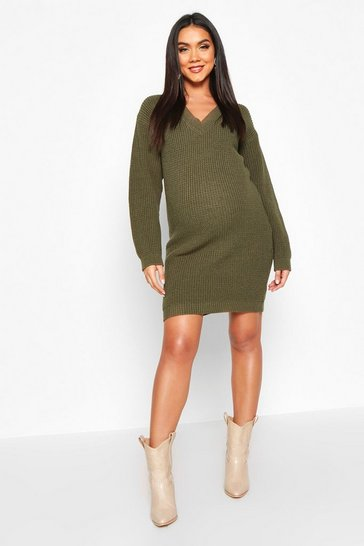 Womens Olive Maternity Rib V Neck Jumper Dress