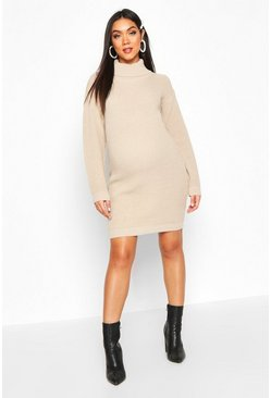 Stone Maternity Roll Neck Sweater Dress
