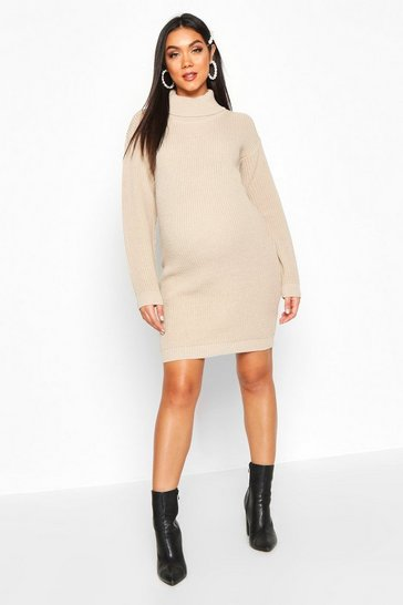 Womens Stone Maternity Roll Neck Jumper Dress