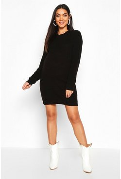 Womens Black Maternity Crew Neck Jumper Dress