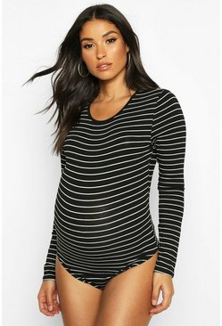 Dam Black Maternity Long Sleeve Stripe Bodysuit