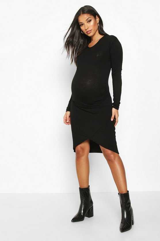 Womens Black Maternity Wrap Front Basic Bodycon Dress