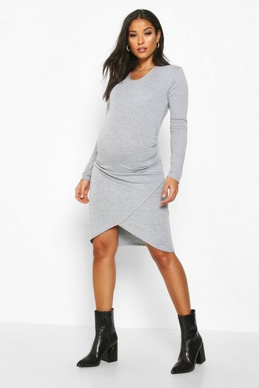 Womens Grey Maternity Wrap Front Basic Bodycon Dress