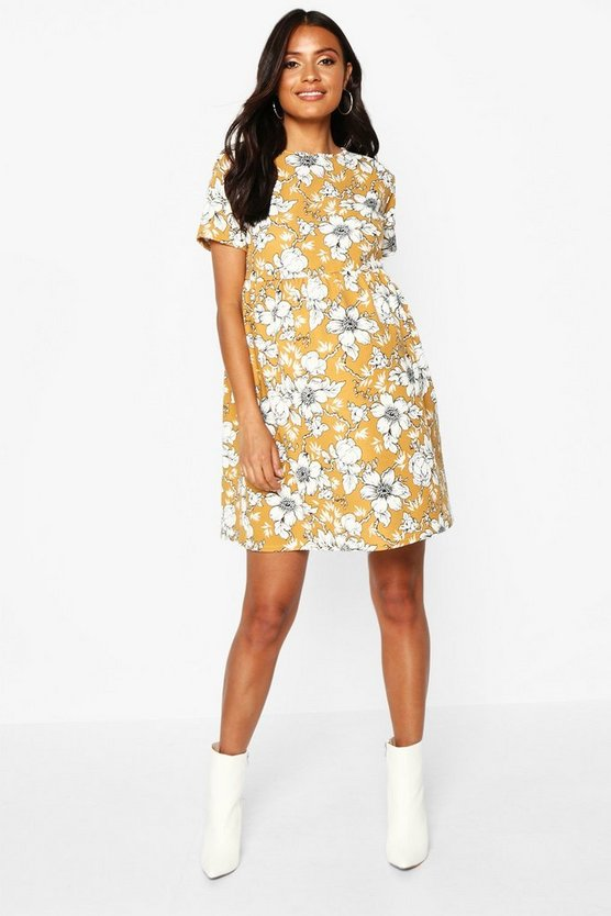 Womens Mustard Maternity Floral Smock Dress