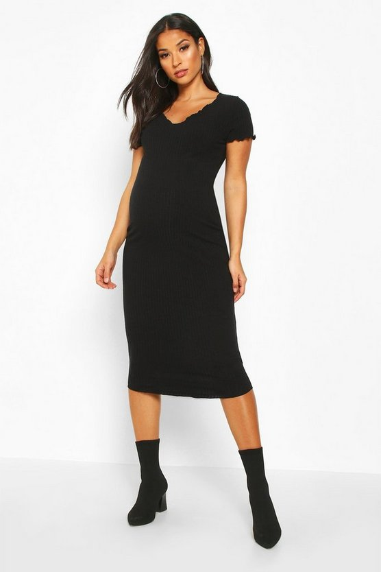 Womens Black Maternity Lettuce Hem Rib Midi Bodycon Dress