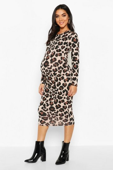 Womens Tan Maternity Leopard Print Bodycon Dress
