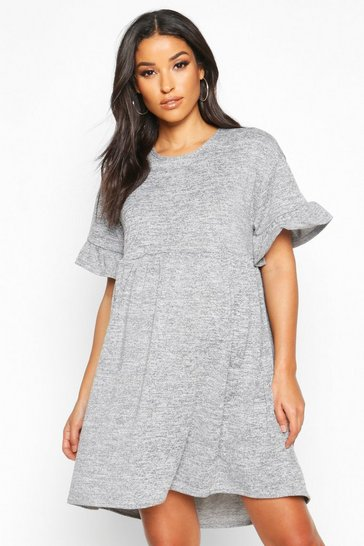 Grey marl Maternity Knitted Smock Dress