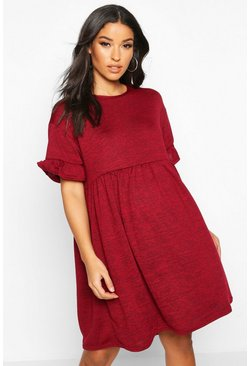 Wine Maternity Knitted Smock Dress