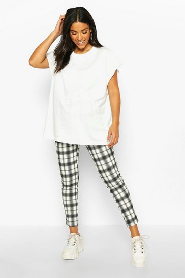 Womens Black Maternity Check Tapered Trouser