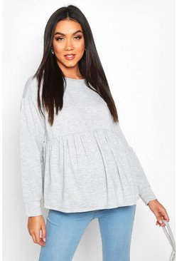Womens Light grey Maternity Smock Sweat Top