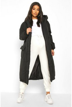Black Maternity Belted Padded Jacket