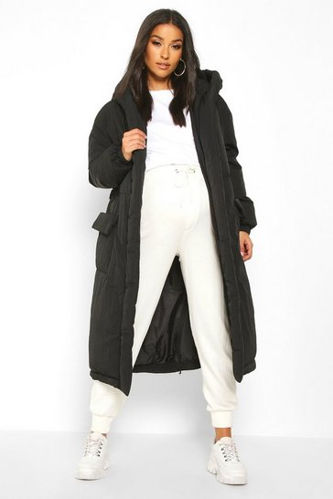 Womens Black Maternity Belted Padded Jacket