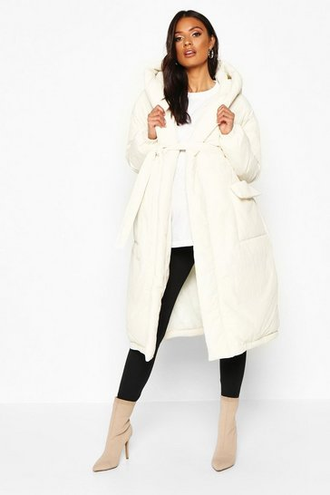 Womens White Maternity Belted Padded Jacket