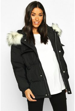 Womens Black Maternity Faux Fur Trim Padded Jacket