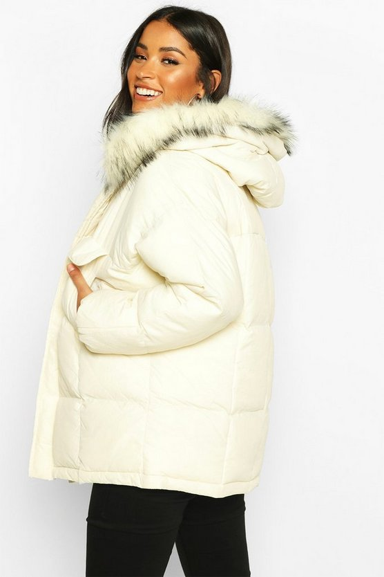 Maternity Faux Fur Trim Padded Jacket