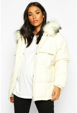 White Maternity Faux Fur Trim Padded Jacket