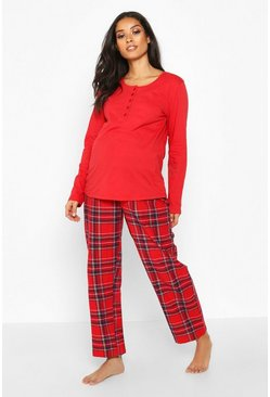 Ensemble pantalon de pyjama de maternité à carreaux, Rouge, Femme