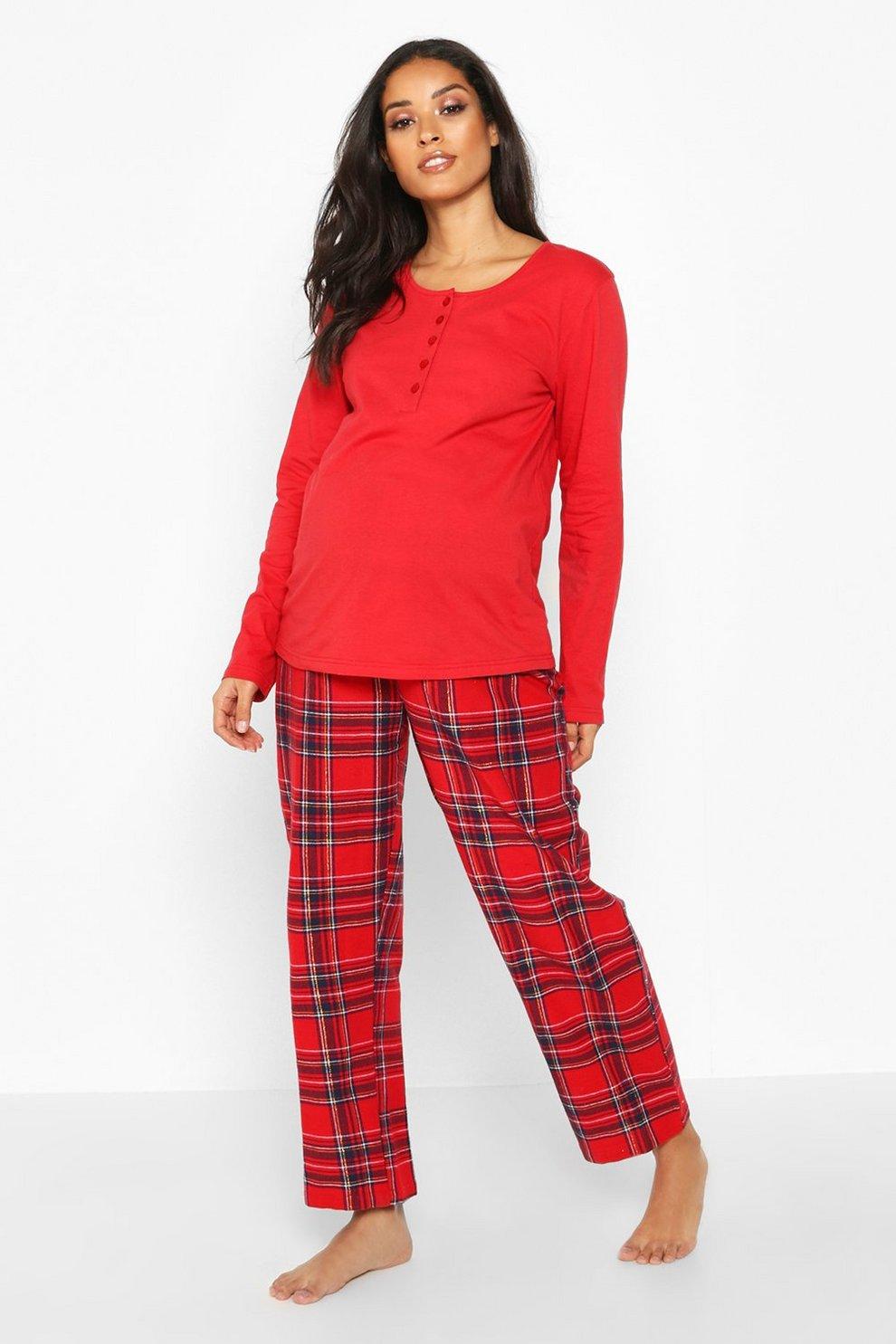 qualité et quantité assurées prix meilleurs prix Ensemble pantalon de pyjama de maternité à carreaux