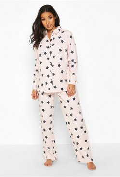 Womens Pink Maternity Brushed Cotton Woven Star PJ Trouser Set