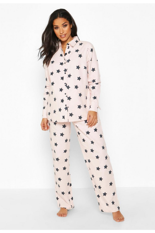 best sneakers 3cd02 d3993 Umstandsmode Pyjama-Set aus gebürsteter Baumwolle mit Stern-Print | Boohoo
