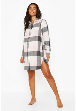 Womens Pink Maternity Woven Check Nightie