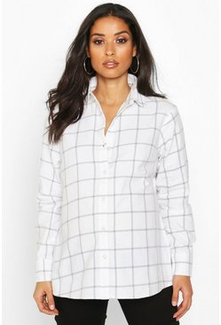 Womens Cream Maternity Woven Brushed Check Shirt