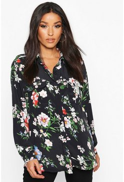 Womens Black Maternity Oriental Print Shirt