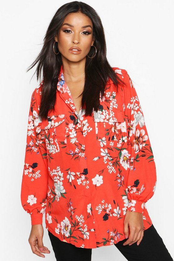 Red Maternity Oriental Print Shirt