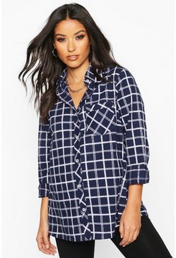 Navy Maternity Woven Check Shirt