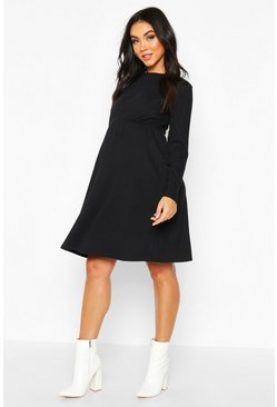 Black Maternity Knitted Rib Smock Dress