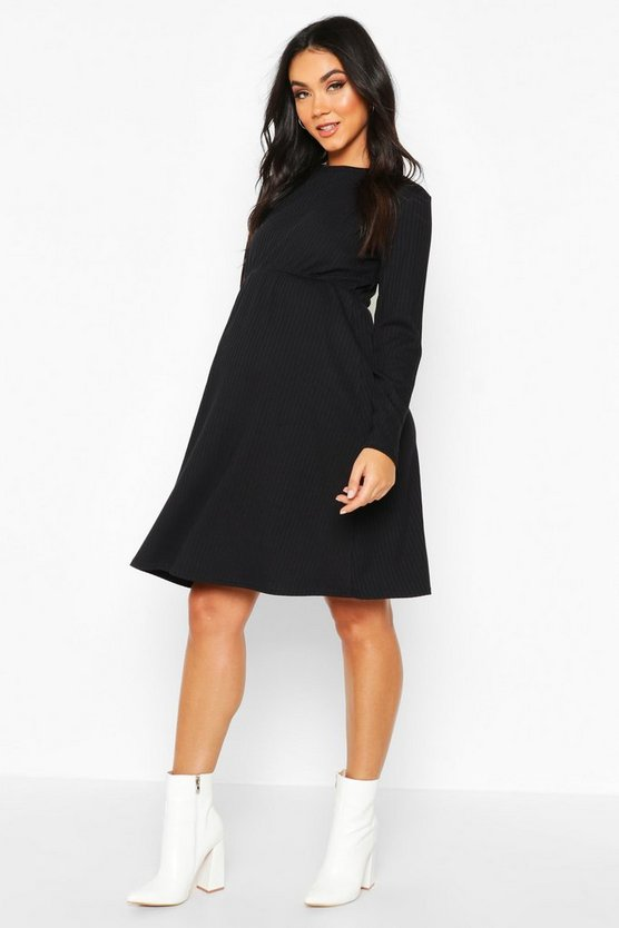 Womens Black Maternity Knitted Rib Smock Dress