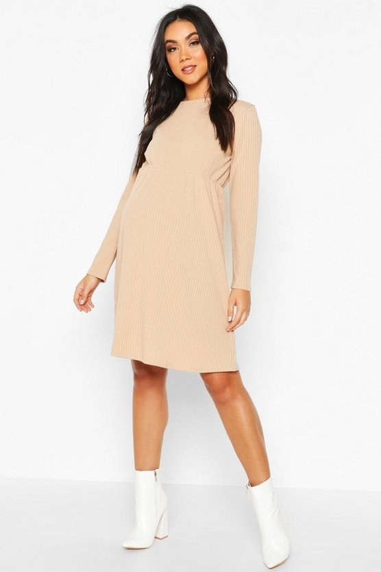 Maternity Knitted Rib Smock Dress by Boohoo