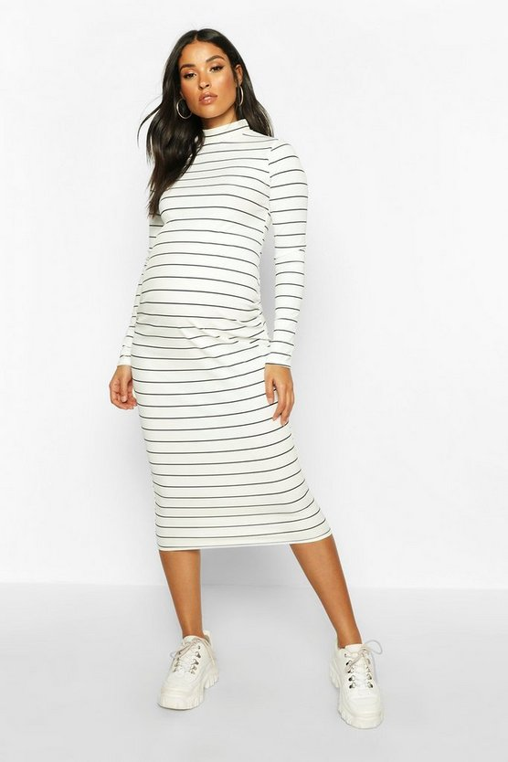 Womens Cream Maternity High Neck Stripe Rib Midi Bodycon Dress