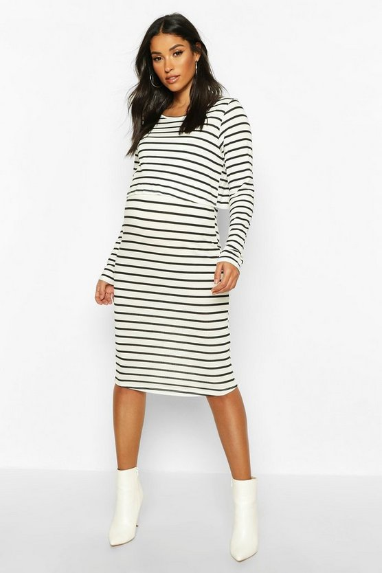 Womens Black Maternity Stripe Long Sleeve Nursing Midi Dress