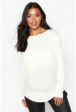 Womens White Maternity Long Sleeve Nursing Top