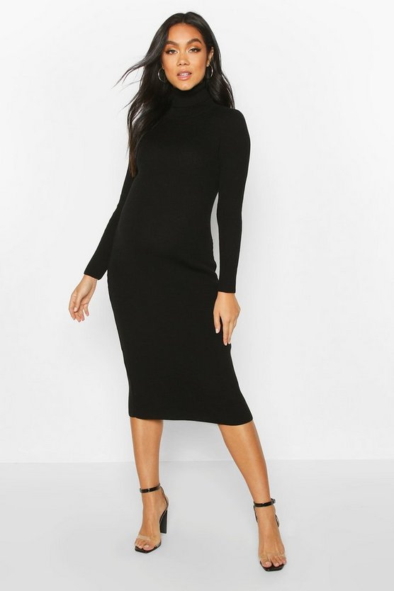Womens Black Maternity High Neck Rib Jumper Dress