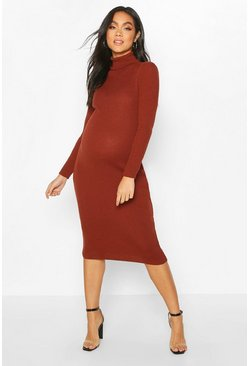 Womens Rust Maternity High Neck Rib Jumper Dress