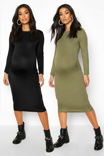 Womens Khaki Maternity 2 Pk Long Sleeve Basic Bodycon Dress
