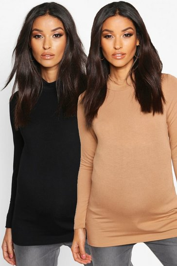 Womens Caramel Maternity 2 Pack Basic High Neck Top