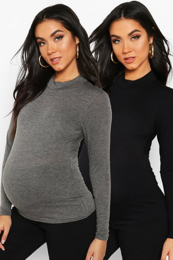 Womens Charcoal Maternity 2 Pack Basic High Neck Top