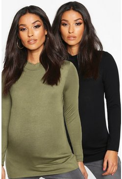 Khaki Maternity 2 Pack Basic High Neck Top