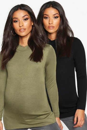 Womens Khaki Maternity 2 Pack Basic High Neck Top