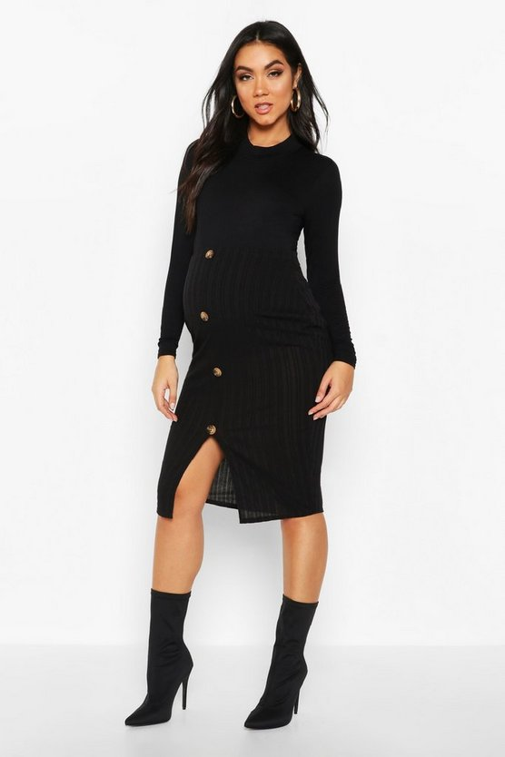 Black Maternity Button Front Rib Midi Skirt
