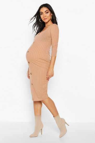 Womens Camel Maternity Long Sleeve Scoop Neck Rib Midi Bodycon Dress