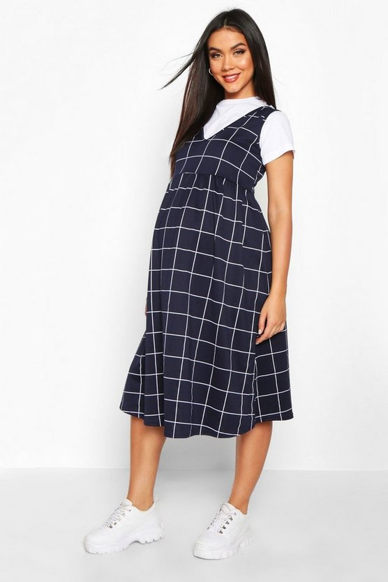 Womens Navy Maternity Check Smock Pinafore Dress
