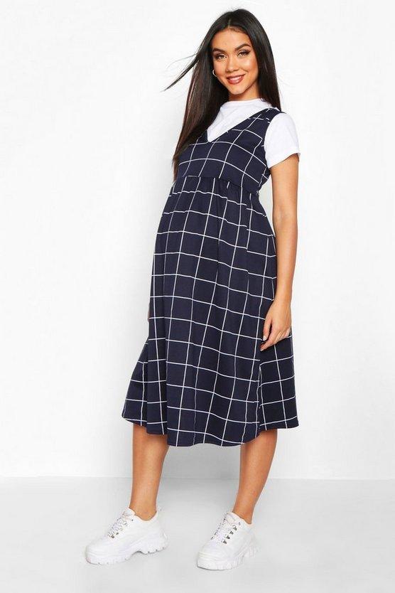Maternity Check Smock Pinafore Dress