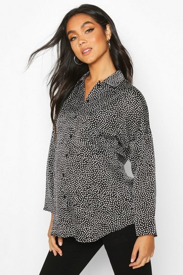 Womens Black Maternity Polka Dot Shirt