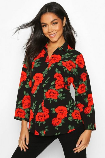 Womens Black Maternity Rose Print Shirt
